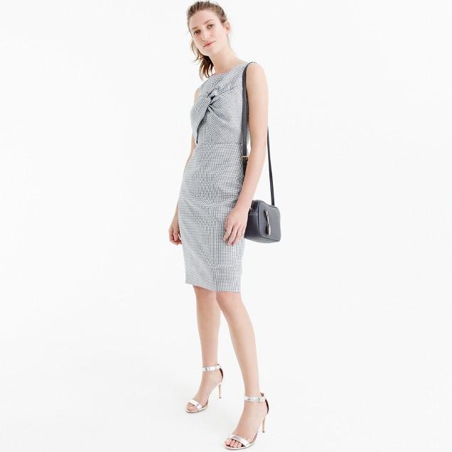 Drape knot windowpane dress in Irish linen