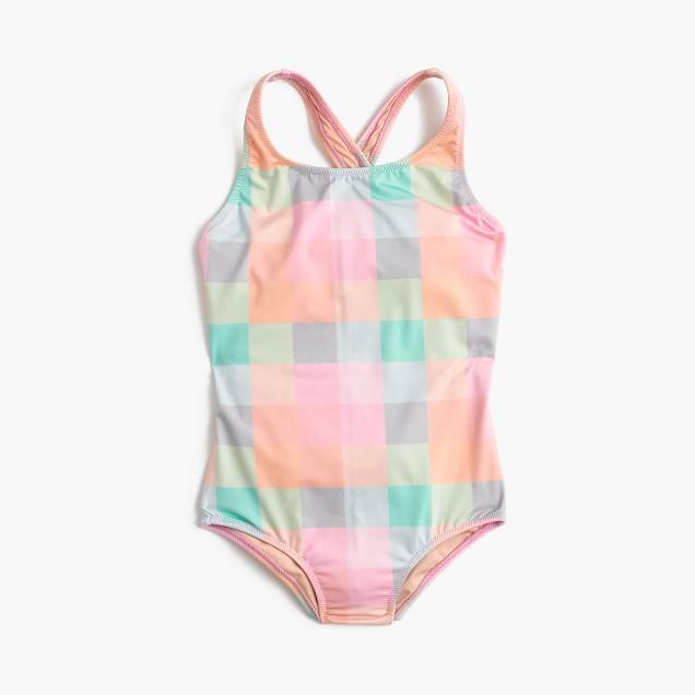 Girls' one-piece swimsuit in oversized rainbow gingham