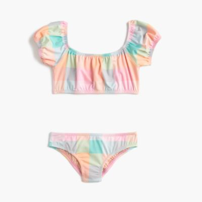 Girls' off-the-shoulder bikini set in oversized rainbow gingham
