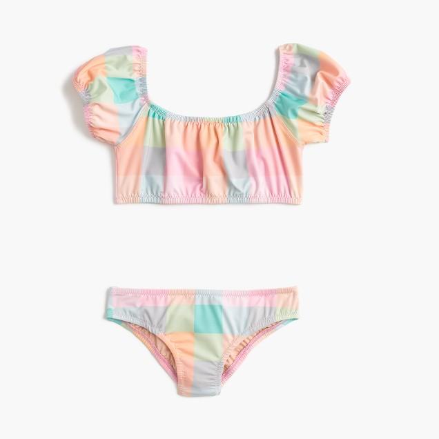 Girls' off-the-shoulder bikini set in oversized rainbow gingham