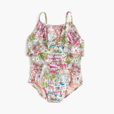 Girls' ruffle one-piece swimsuit in harbor print