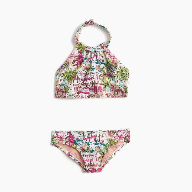 Girls' halter bikini set in harbor print