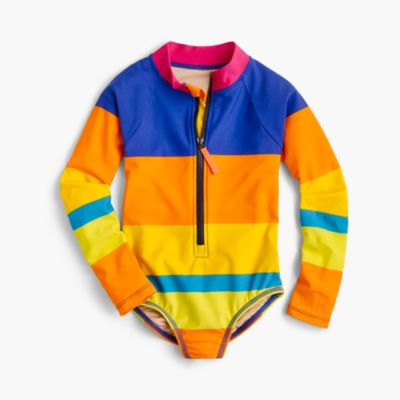 Girls' long-sleeve one-piece swimsuit in colorblocked stripe