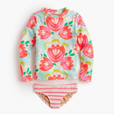 Girls' rash guard bikini set in cactus floral