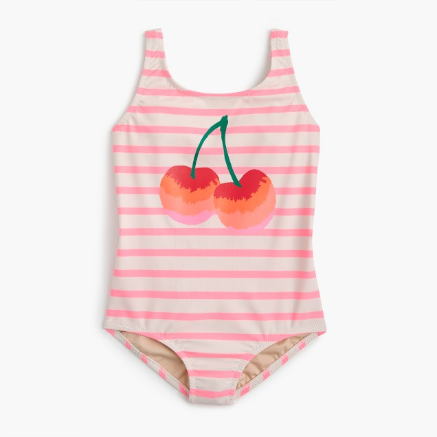 Girls' striped one-piece swimsuit with cherries