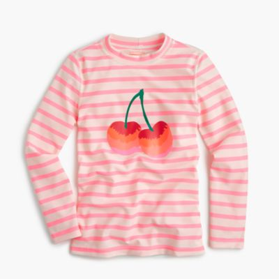 Girls' striped rash guard with cherries