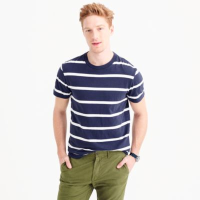 Tall cotton T-shirt in white stripe