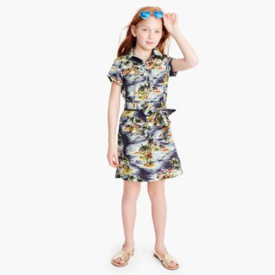 Girls' tie-waist shirtdress in Hawaiian print