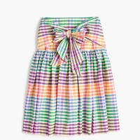 Petite tie-front skirt in rainbow gingham