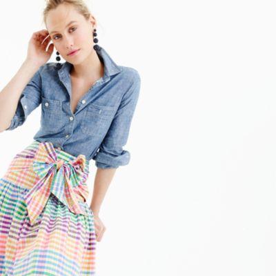 Tie-front skirt in rainbow gingham