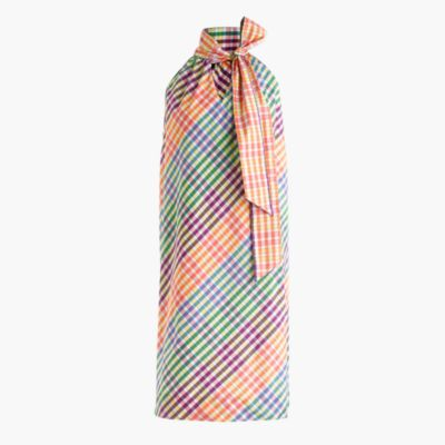 Tall tie-neck dress in rainbow gingham