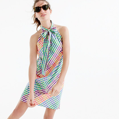 6f26741a53aa9 Tie-neck dress in rainbow gingham