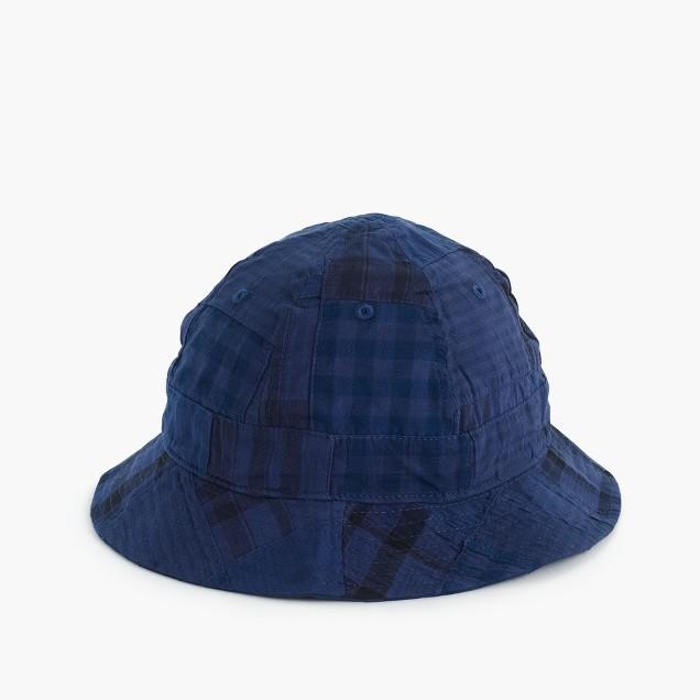 Bucket hat in patchwork madras