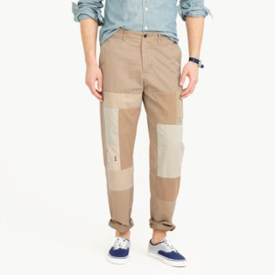 Wide-leg patchwork chino pant in embroidered lighthouses