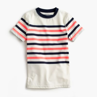 Boys' short-sleeve vintage stripe rash guard
