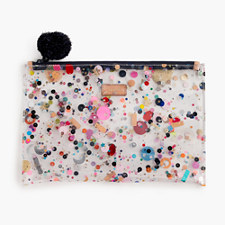 Large vinyl pouch with glitter - MULTI CLEAR