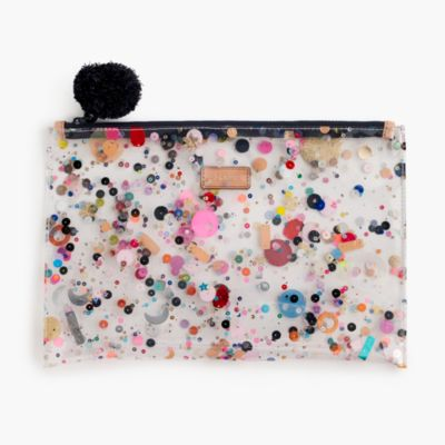 Large vinyl pouch with glitter