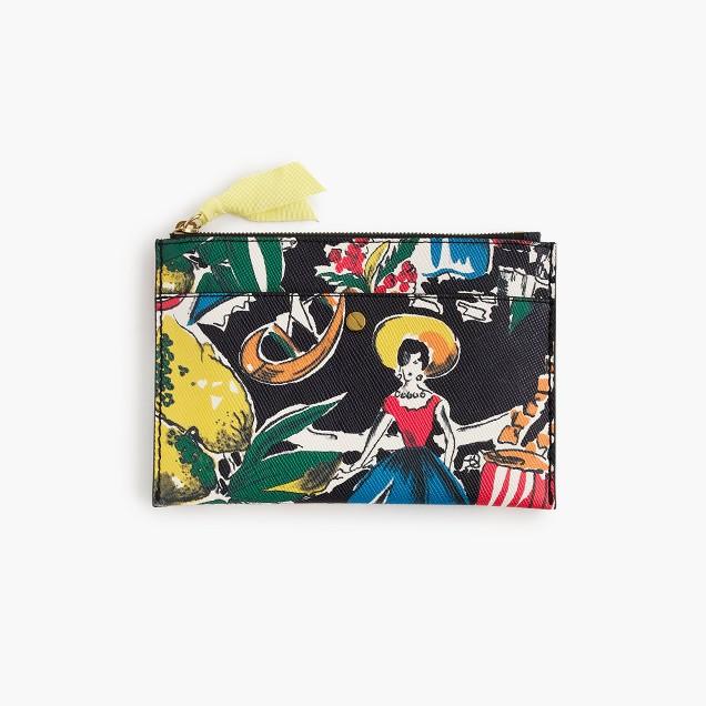 Medium pouch in postcard print