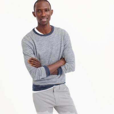 Cotton-linen crewneck sweater in navy stripe