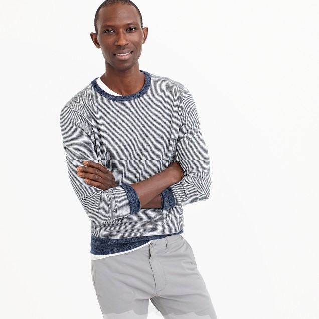 Cotton-linen crewneck sweater in navy stripe