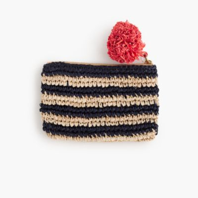 Small striped straw pouch