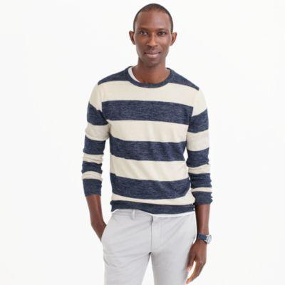 Cotton-linen crewneck sweater in wide stripe