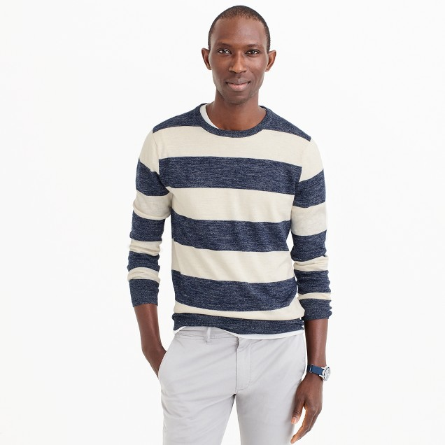 Cotton-linen crewneck sweater in wide stripe