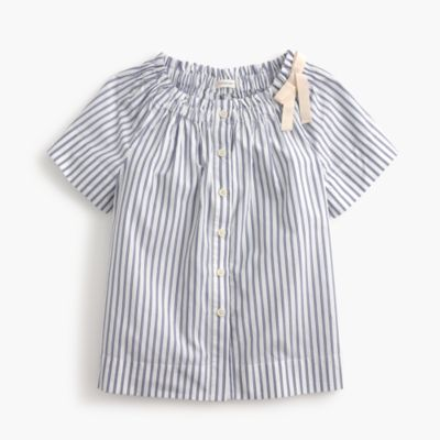 Girls' ruched button-up in shirting stripe