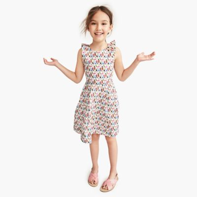 Girls' pleated dress in Liberty® birds of paradise print