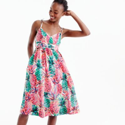 Tall spaghetti-strap dress in Ratti® painted pineapple