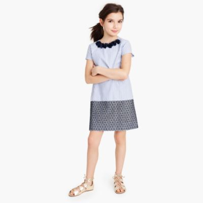 Girls' flower necklace dress in striped eyelet