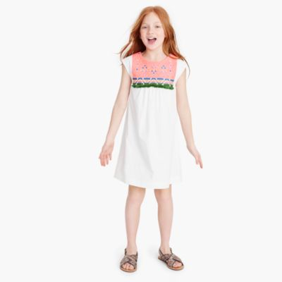 Girls' embroidered bib dress