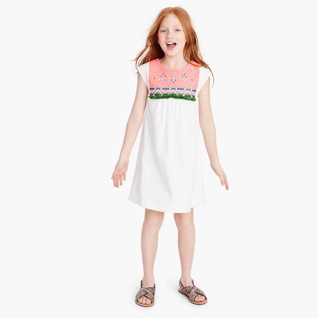 Girls' embroidered bib dress