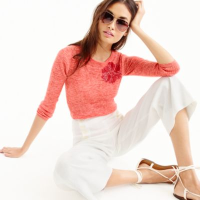 Italian linen-blend ribbed crewneck sweater with sequins