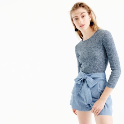 Italian linen-blend ribbed crewneck sweater