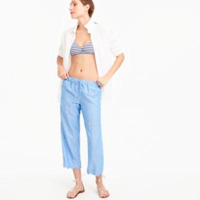Scalloped linen-cotton beach pant