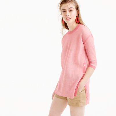 Oversized side-button tunic sweater