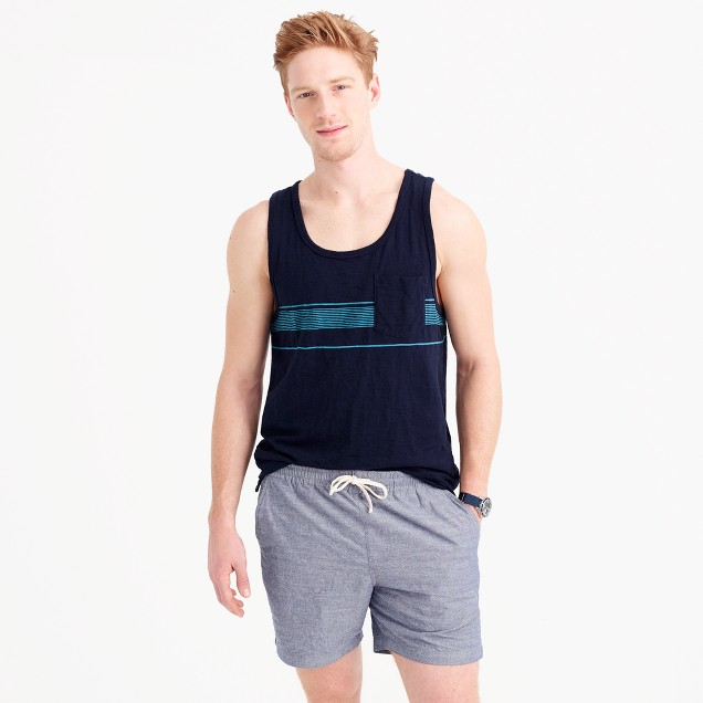 Slub cotton tank top in microstripe
