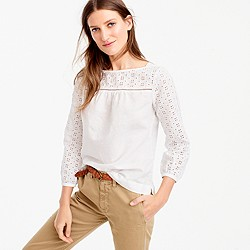 Petite linen-cotton eyelet top