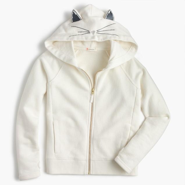 Girls' kitty zip hoodie