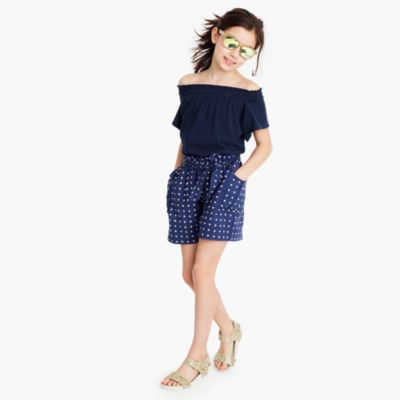 Girls' short romper in star print