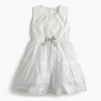 Girls' gathered metallic-printed dress
