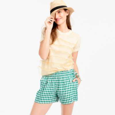 Gingham linen short with side ties