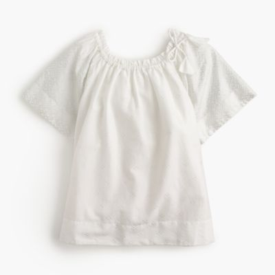 Girls' gathered-neck top