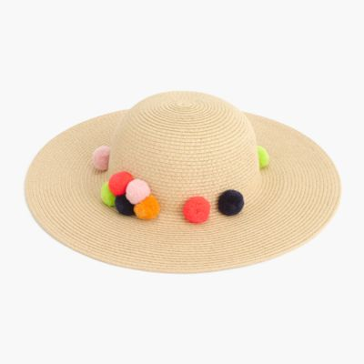 Girls' floppy sun hat with pom-poms