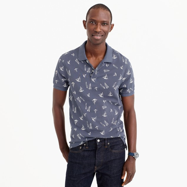 Classic piqué polo shirt in sailboat pattern