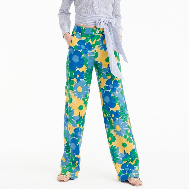 Full-length linen pant in morning floral