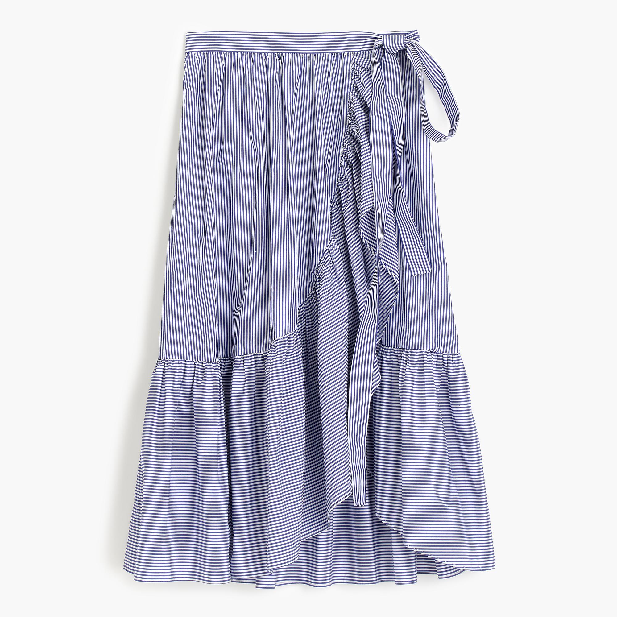 Ruffle Wrap Skirt In Shirting Stripe Women A LineMidi