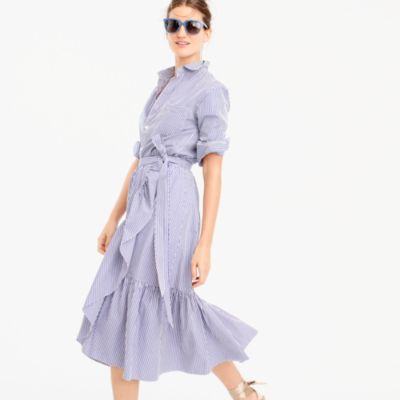 Ruffle wrap skirt in shirting stripe