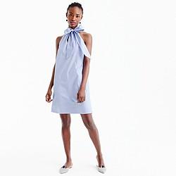 Petite tie-neck dress in oxford cotton